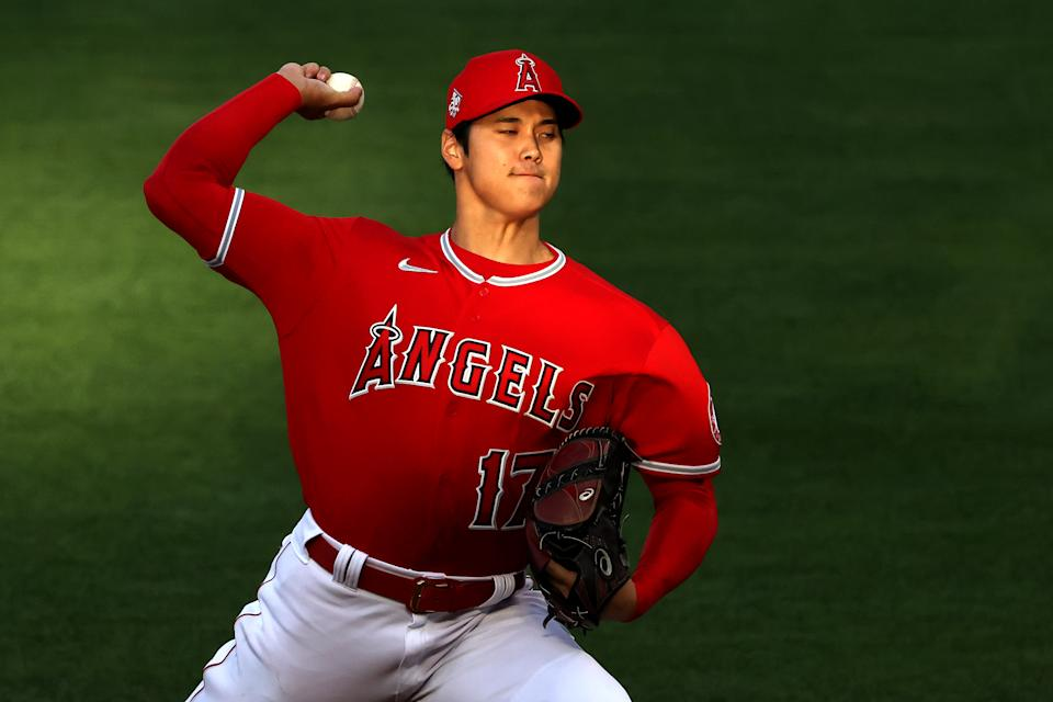 ANAHEIM, CALIFORNIA - APRIL 20: Shohei Ohtani #17 of the Los Angeles Angels warms up prior to the first inning of a game against the Texas Rangers at Angel Stadium of Anaheim on April 20, 2021 in Anaheim, California. (Photo by Sean M. Haffey/Getty Images)