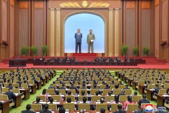 A general view shows the first-day sitting of the 5th Session of the 14th Supreme People's Assembly (SPA) of the Democratic People's Republic of Korea (DPRK) at the Mansudae Assembly Hall in Pyongyang