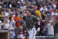 San Diego Padres' Jake Cronenworth reacts after hitting a walk-off home run during the ninth inning of a baseball game against the Houston Astros, Sunday, Sept. 5, 2021, in San Diego. The Padres won, 4-3. (AP Photo/Gregory Bull)