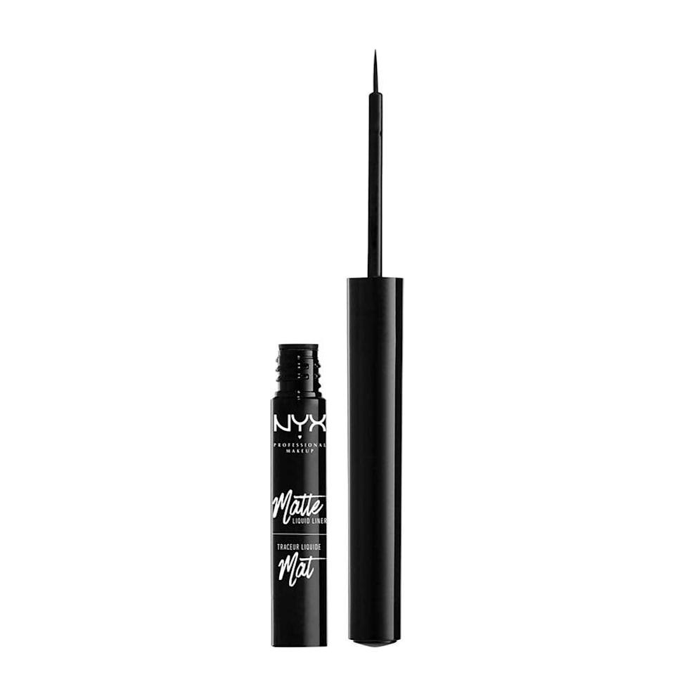 """<p>The key to a flawless cat-eye is a great liner. The <a href=""""https://www.popsugar.com/buy/NYX-Professional-Makeup-Matte-Liquid-Liner-428718?p_name=NYX%20Professional%20Makeup%20Matte%20Liquid%20Liner&retailer=ulta.com&pid=428718&price=8&evar1=bella%3Aus&evar9=41810731&evar98=https%3A%2F%2Fwww.popsugar.com%2Fbeauty%2Fphoto-gallery%2F41810731%2Fimage%2F47575583%2FNYX-Professional-Makeup-Matte-Liquid-Liner&list1=makeup%2Cbeauty%20products%2Cbeauty%20shopping%2Cnyx&prop13=api&pdata=1"""" class=""""link rapid-noclick-resp"""" rel=""""nofollow noopener"""" target=""""_blank"""" data-ylk=""""slk:NYX Professional Makeup Matte Liquid Liner"""">NYX Professional Makeup Matte Liquid Liner</a> ($8) lets you draw a sleek, smooth line thanks to its precision tip. It dries matte and is completely smudge-proof. </p>"""