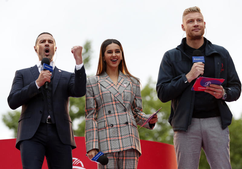 LONDON, ENGLAND - MAY 29: Paddy McGuinness, Shibani Dandekar and Andrew Flintoff look on during the ICC Cricket World Cup 2019 Opening Party at The Mall on May 29, 2019 in London, England. (Photo by Luke Walker-IDI/IDI via Getty Images)