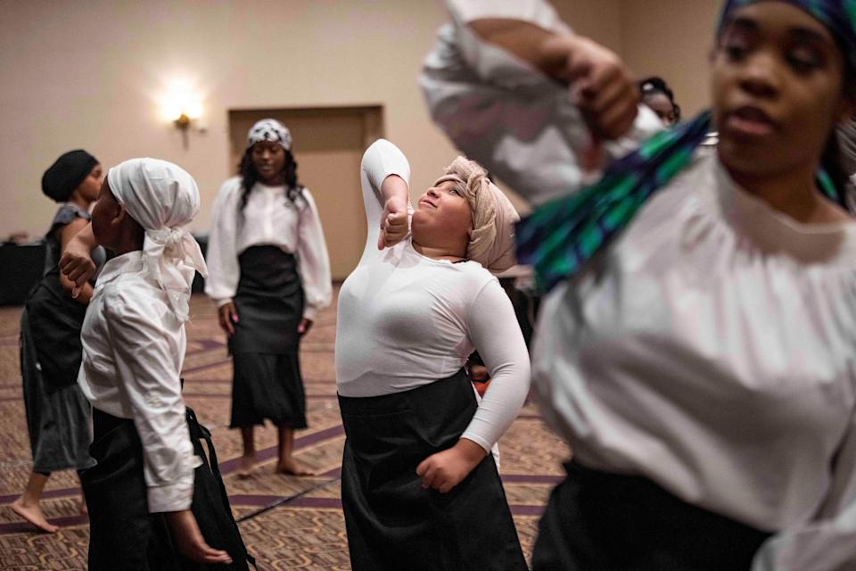 Pageant contestants practice their dance routine before the Delaware Juneteenth Family Enrichment Program and Pageant at the DoubleTree Hilton Hotel Downtown in Wilmington on June 13, 2021..