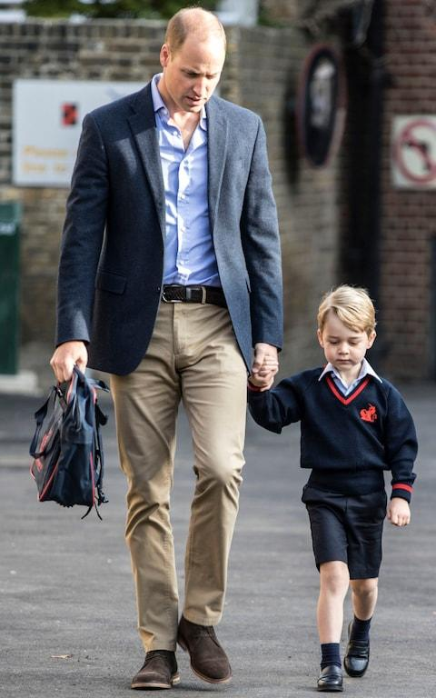 Prince George arrives with the Duke of Cambridge at Thomas's Battersea in London, - Credit: Richard Pohle/PA