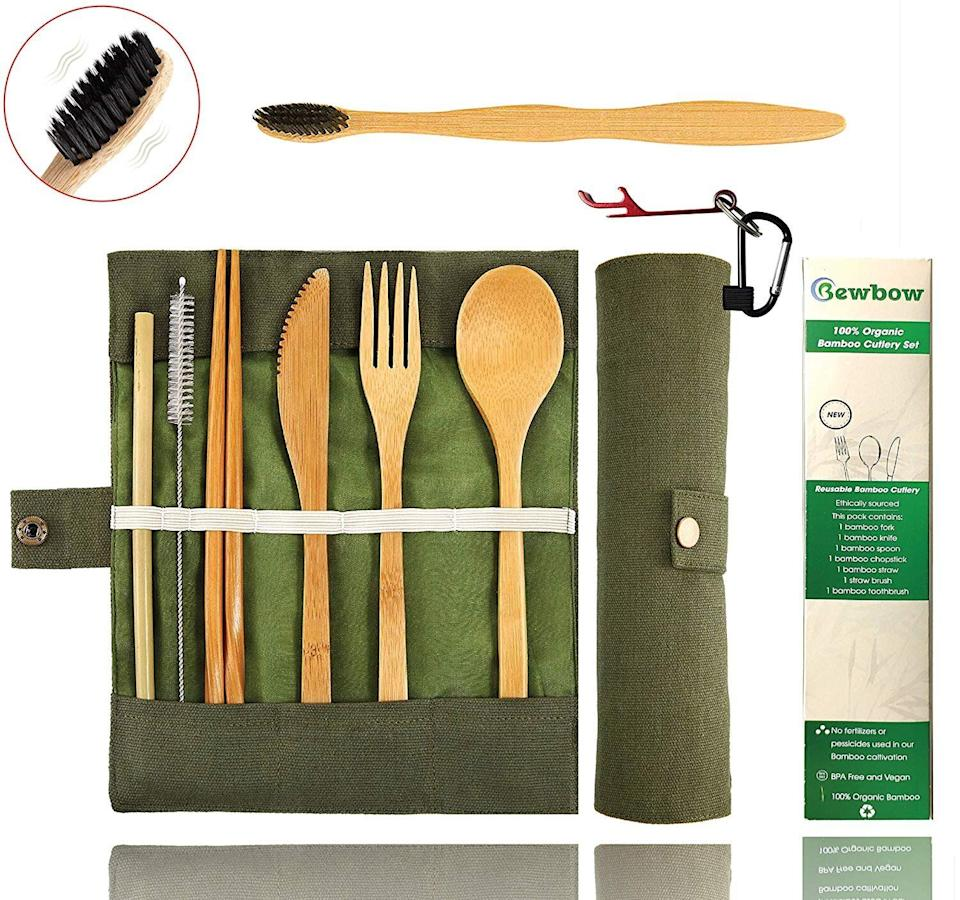 """If you don't want to keep losing the spoons and forks from your at-home cutlery set, consider getting this bamboo travel set to live in your lunchbox. The kiddos will enjoy the fun of unpacking their own unique cutlery come lunchtime, and you'll love that they're not grabbing plastic ones from the cafeteria (or taking your silverware from home). <strong><a href=""""https://amzn.to/2GWWra2"""" target=""""_blank"""" rel=""""noopener noreferrer"""">Find this bamboo travel cutlery set on Amazon for $15</a></strong>."""