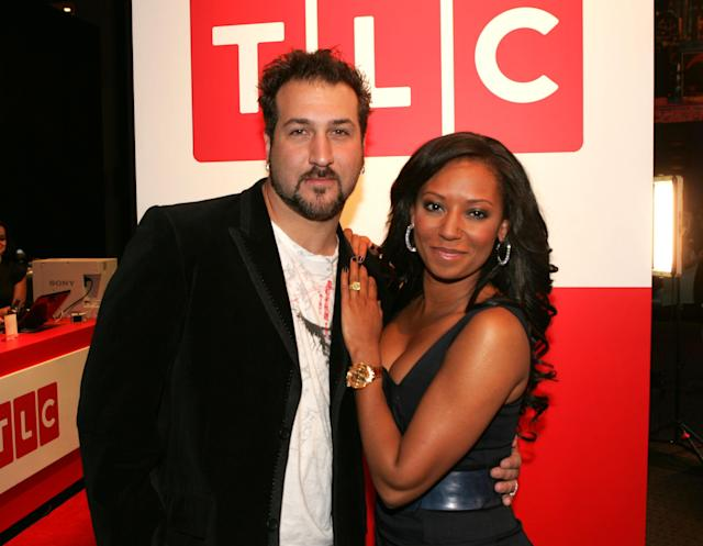 NEW YORK, NY - APRIL 23: Television personality Joey Fatone and singer Melanie Brown of the Spice Girls attend the Discovery Upfront Presentation NY - Talent Images at the Frederick P. Rose Hall on April 23, 2008 in New York City.(Photo by Thos Robinson/Getty Images for Discovery)