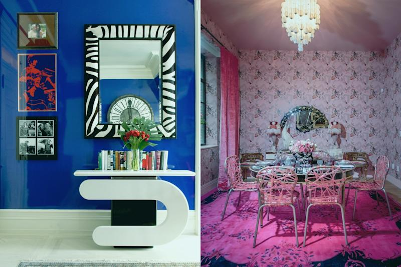"Left: A room at <a href=""https://sashabikoff.com/portfolio-posts/dakota"" target=""_blank"">The Dakota</a>. Right: A room at Bikoff's <a href=""https://sashabikoff.com/portfolio-posts/holiday-house-soho"" target=""_blank"">Holiday House in SoHo</a>. (Sasha Bikoff)"