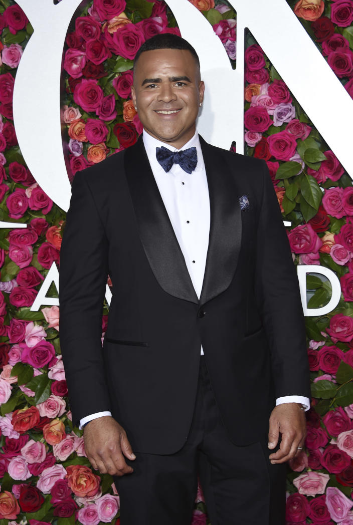 """FILE - Christopher Jackson arrives at the 72nd annual Tony Awards on June 10, 2018, in New York. The inaugural celebration will be pared down, distanced, and much of it virtual. Still, a slew of celebrities will be descending on Washington, virtually and a few in person. Actor Christopher Jackson, the original George Washington in Broadway's """"Hamilton,"""" will be performing at a virtual """"ball"""" for the Creative Coalition. (Photo by Evan Agostini/Invision/AP, File)"""