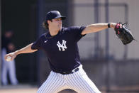 New York Yankees' Gerrit Cole delivers a pitch during a spring training baseball workout Monday, Feb. 22, 2021, in Tampa, Fla. (AP Photo/Frank Franklin II)