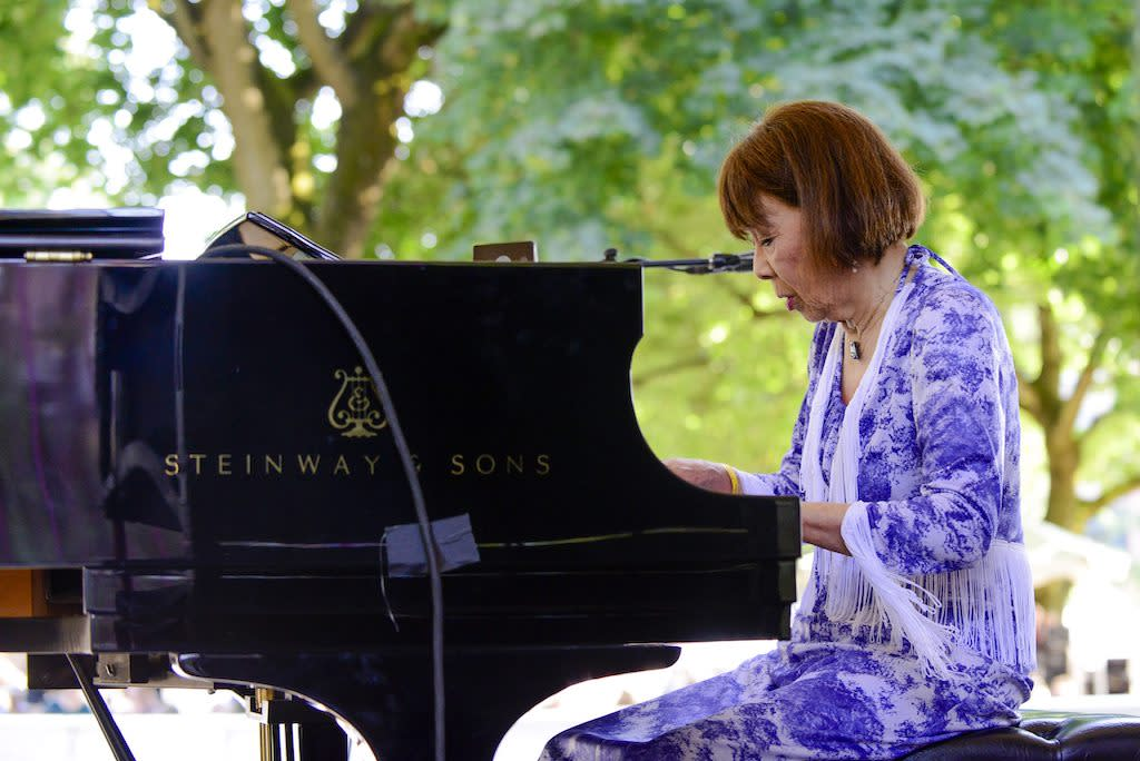 <p>The jazz composer/arranger/bandleader/pianist was born in the Republic of China. She received her first nom for 1976's 'Long Yellow Road, 'a collabo with the Lew Tabackin Big Band, which was nominated for Best Jazz Performance by a Big Band. Akiyoshi, 86, has received a total of 10 nominations in that category. Note: McBride, Björk, and Akiyoshi are tied as the females with the most Grammy noms without a win. </p>