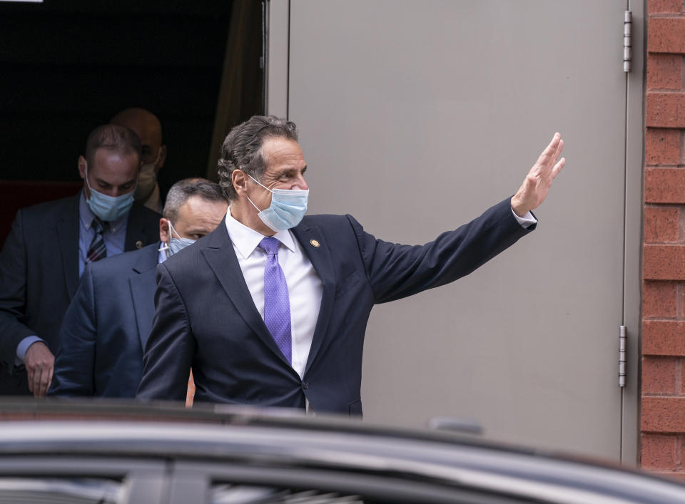 NEW YORK, UNITED STATES - 2021/03/26: Governor Andrew Cuomo leaves New Settlement Community Center after announced partnership with SOMOS Community Care to provide COVID-19 vaccines to underserved New Yorkers. SOMOS Community Care will use 75 medical practices in the Bronx, Brooklyn, Manhattan and Queens to do vaccination. And when supply allowed extand it to 100 in lower income communities of color. (Photo by Lev Radin/Pacific Press/LightRocket via Getty Images)