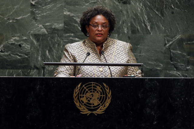 Prime Minister Mia Amor Mottley, of Barbados, addresses the 74th session of the United Nations General Assembly, Friday, Sept. 27, 2019. (AP Photo/Richard Drew)