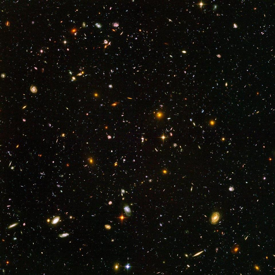 """<p>The Hubble Space Telescope, the <a href=""""https://www.popularmechanics.com/space/satellites/g32266058/hubble-telescope-history/"""" rel=""""nofollow noopener"""" target=""""_blank"""" data-ylk=""""slk:most advanced orbital observatory ever constructed at the time"""" class=""""link rapid-noclick-resp"""">most advanced orbital observatory ever constructed at the time</a>, launched for the cosmos on April 24, 1990. Since then, it has <a href=""""https://www.popularmechanics.com/space/g3056/27-of-hubbles-best-photos-for-its-27th-birthday/"""" rel=""""nofollow noopener"""" target=""""_blank"""" data-ylk=""""slk:snapped breathtaking images"""" class=""""link rapid-noclick-resp"""">snapped breathtaking images</a> of the universe's most distant galaxies (seen here in the famed Hubble Deep Field image), spectacular supernovae and our planetary neighbors. The Hubble Space Telescope, which will soon be joined by an illustrious cadre of new observatories like the <a href=""""https://www.popularmechanics.com/space/satellites/a32628028/wfirst-observatory-name/"""" rel=""""nofollow noopener"""" target=""""_blank"""" data-ylk=""""slk:Nancy Grace Roman Space Telescope"""" class=""""link rapid-noclick-resp"""">Nancy Grace Roman Space Telescope</a> and the <a href=""""https://www.popularmechanics.com/space/satellites/a32018664/james-webb-telescope-mirror-test/"""" rel=""""nofollow noopener"""" target=""""_blank"""" data-ylk=""""slk:James Webb Space Telescope"""" class=""""link rapid-noclick-resp"""">James Webb Space Telescope</a>, reshaped our <a href=""""https://www.popularmechanics.com/space/deep-space/a32109712/how-many-galaxies/"""" rel=""""nofollow noopener"""" target=""""_blank"""" data-ylk=""""slk:fundamental understanding of the universe"""" class=""""link rapid-noclick-resp"""">fundamental understanding of the universe</a> and helped illuminate our place in it. </p>"""