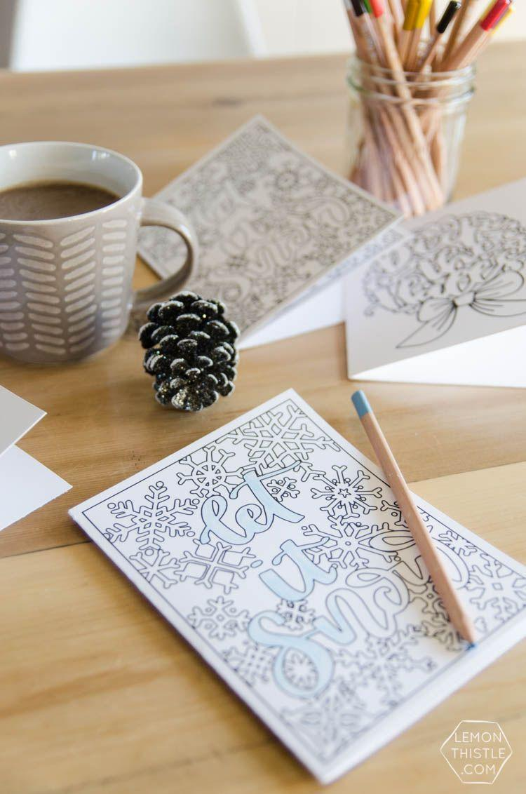 """<p>Print these holiday-inspired coloring pages, fold into a card, and then let the recipient reap the therapeutic benefits. (A real gift in itself!)</p><p><em>Get the tutorial at <a href=""""https://www.lemonthistle.com/christmas-colouring-cards-2-free-printables/"""" rel=""""nofollow noopener"""" target=""""_blank"""" data-ylk=""""slk:Lemon Thistle"""" class=""""link rapid-noclick-resp"""">Lemon Thistle</a>.</em> </p><p><a class=""""link rapid-noclick-resp"""" href=""""https://www.amazon.com/Neenah-Cardstock-Heavyweight-Brightness-SHEETS/dp/B07QQ3L753?tag=syn-yahoo-20&ascsubtag=%5Bartid%7C10072.g.34351112%5Bsrc%7Cyahoo-us"""" rel=""""nofollow noopener"""" target=""""_blank"""" data-ylk=""""slk:SHOP CARDSTOCK"""">SHOP CARDSTOCK</a></p>"""