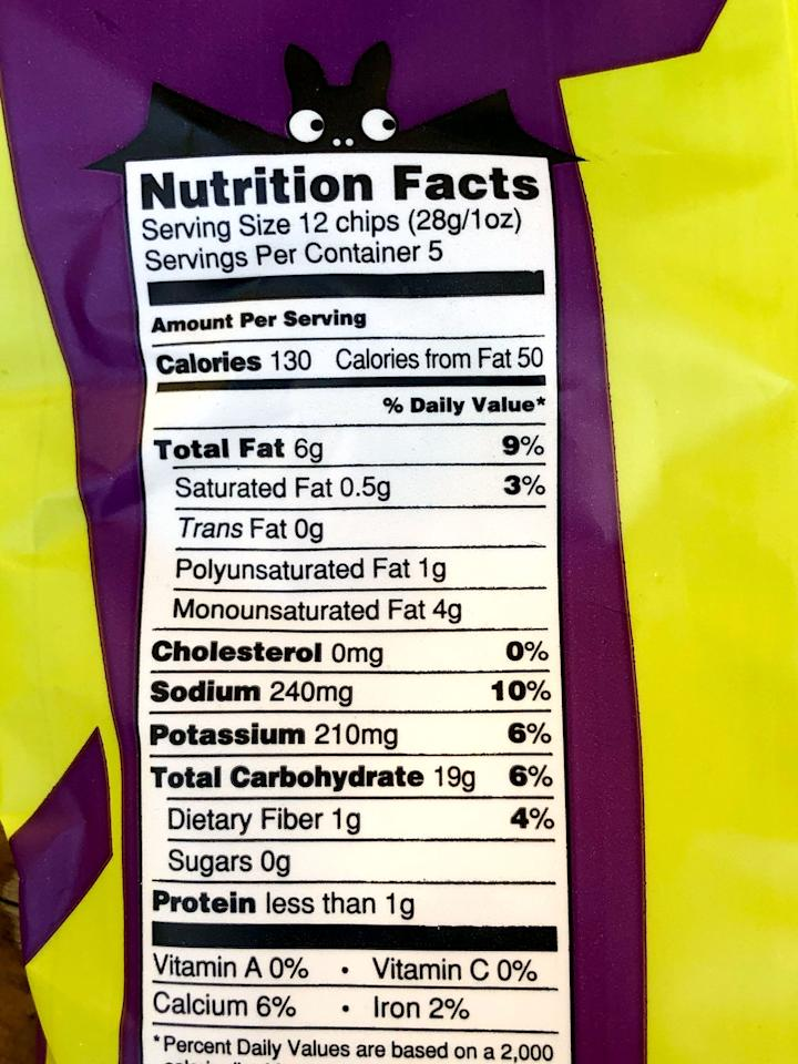 """<p>One serving (about 12 chips) of Trader Joe's Ghosts &amp; Bats Crispy Potato Snacks has 130 calories, six grams of fat, 0.5 grams of saturated fat, no cholesterol, 240 milligrams of sodium, 19 grams of carbs, one gram of fiber, no sugar, and less than one gram of protein. A serving also offers 210 milligrams of potassium (<a href=""""https://www.popsugar.com/fitness/RDI-Vitamins-Minerals-6271475"""" class=""""ga-track"""" data-ga-category=""""Related"""" data-ga-label=""""https://www.popsugar.com/fitness/RDI-Vitamins-Minerals-6271475"""" data-ga-action=""""In-Line Links"""">a woman needs 4,700 milligrams per day</a>), and a bit of calcium and iron.</p> <p>These aren't the healthiest food on planet Earth, but with all the candy, chocolate, and treats we're surrounded by this time of year, it's nice to have a Halloween-inspired option that's sugar-free.</p>"""