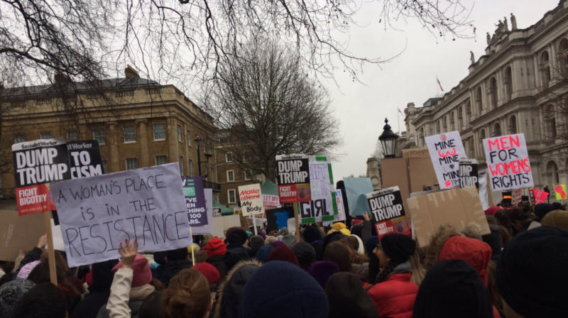 "Thousands of women have taken to the streets in London to say ""Time's Up"" on issues including sexual harassment and the gender pay gap, a day after huge crowds gathered for marches across the US."