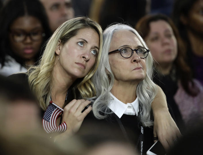 <p>Women watch election results during Democratic presidential nominee Hillary Clinton's election night rally in the Jacob Javits Center glass enclosed lobby in New York, Tuesday, Nov. 8, 2016. (Photo: Frank Franklin II/AP) </p>