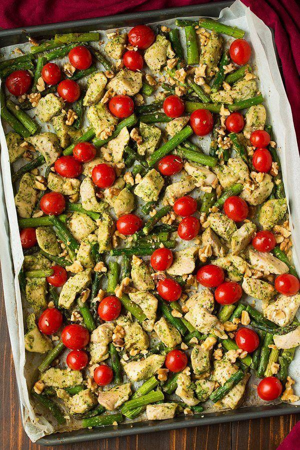 "<p>Pesto = perfecto.</p><p>Get the recipe from <a href=""http://www.cookingclassy.com/sheet-pan-pesto-chicken-asparagus-tomatoes-walnuts/"" rel=""nofollow noopener"" target=""_blank"" data-ylk=""slk:Cooking Classy"" class=""link rapid-noclick-resp"">Cooking Classy</a>.</p>"