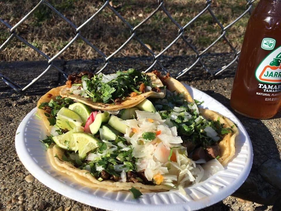 """<p><strong><a href=""""https://www.yelp.com/biz/tacos-el-chilango-food-truck-arlington"""" rel=""""nofollow noopener"""" target=""""_blank"""" data-ylk=""""slk:Tacos El Chilango Food Truck"""" class=""""link rapid-noclick-resp"""">Tacos El Chilango Food Truck</a>, Arlington</strong></p><p>""""I usually get 4–5 tacos, chorizo or al pastor with habanero salsa - completely stuffed for $2.50 per taco. If you've ever been to Mexico and want a taste of street tacos here, this is your spot."""" – Yelp user <a href=""""https://www.yelp.com/user_details?userid=kVUeC4THLM4i-GbKrXD_pQ"""" rel=""""nofollow noopener"""" target=""""_blank"""" data-ylk=""""slk:Spencer D."""" class=""""link rapid-noclick-resp"""">Spencer D.</a></p><p>Photo: Yelp/<a href=""""https://www.yelp.com/user_details?userid=__9jhqbZS9mwvLDI4gbuUw"""" rel=""""nofollow noopener"""" target=""""_blank"""" data-ylk=""""slk:Rudy H."""" class=""""link rapid-noclick-resp"""">Rudy H.</a></p>"""