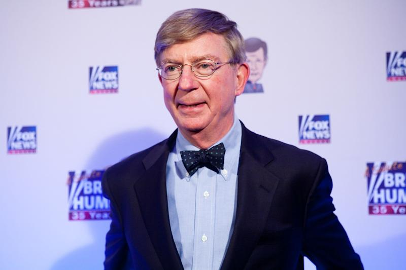 Conservative newspaper columnist George Will poses on the red carpet on Jan. 8, 2009, in Washington, D.C.