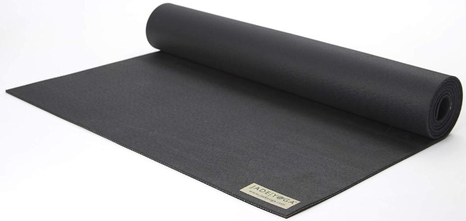 """<h3>Jade Yoga Harmony Yoga Mat</h3><br><strong>Best For: Hot Yoga</strong><br>If you've ever experienced a Slip-n-Slide situation during a Bikram class, then you know how important grip is to a positive yoga practice. This highly-rated mat passes the test.<br><br><strong>The Hype: </strong>4.5 out of 5 stars and 2,896 reviews on <a href=""""https://amzn.to/2UUhDVM"""" rel=""""nofollow noopener"""" target=""""_blank"""" data-ylk=""""slk:Amazon"""" class=""""link rapid-noclick-resp"""">Amazon</a><br><br><strong>Yogis Say:</strong> """"I was skeptical. Then I found out what yoga could actually be like with a good mat. No joke. So worth it."""" — Daveybear, Amazon Reviewer<br><br><strong>Jade Yoga</strong> Harmony Yoga Mat, $, available at <a href=""""https://amzn.to/2USThvj"""" rel=""""nofollow noopener"""" target=""""_blank"""" data-ylk=""""slk:Amazon"""" class=""""link rapid-noclick-resp"""">Amazon</a>"""
