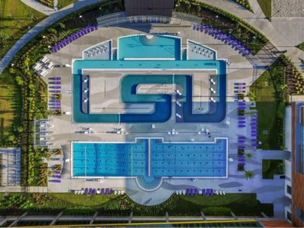 LSU's new pool stretches 536 feet in length and shows off the school's initials. (Twitter)
