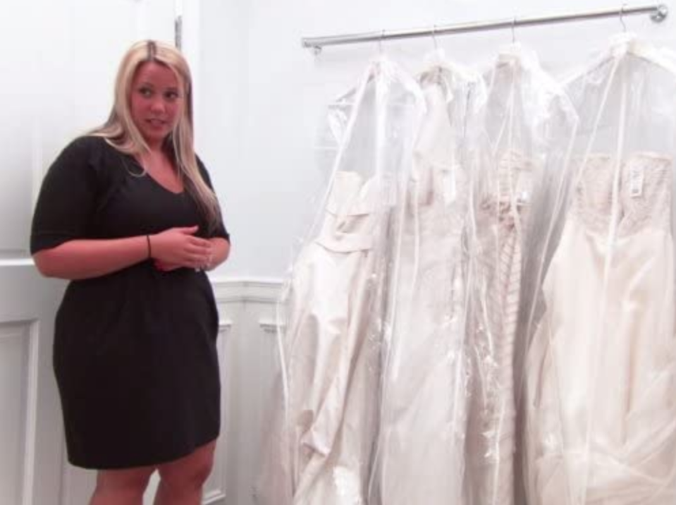 """<p>Brides typically try on anywhere from 6 to 16 dresses during their fitting. Production later <a href=""""https://www.buzzfeed.com/terripous/21-things-you-never-knew-about-say-yes-to-the-dress"""" rel=""""nofollow noopener"""" target=""""_blank"""" data-ylk=""""slk:edits out dresses"""" class=""""link rapid-noclick-resp"""">edits out dresses</a> that don't fit into the storyline.</p>"""