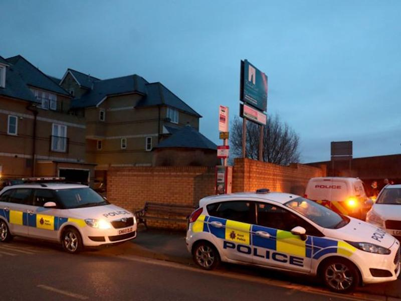 Police cordon at the scene in Sheerness, Kent where the baby was found: PA