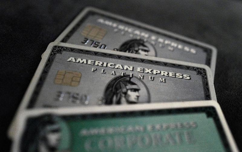 FILE PHOTO: Credit cards of American Express are photographed in this illustration picture at an office in Frankfurt