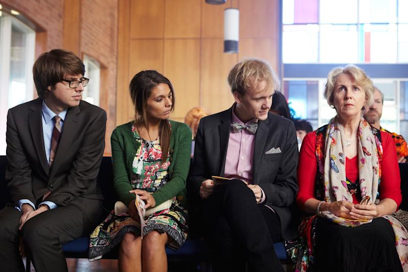 PLEASE LIKE ME, (from left): Tom Ward, Caitlin Stasey, Josh Thomas, Debra Lawrence, (Season 1), 2013-. photo: Narelle Sheean / Pivot/Australian Broadcasting Corp. / Courtesy: Everett Collection
