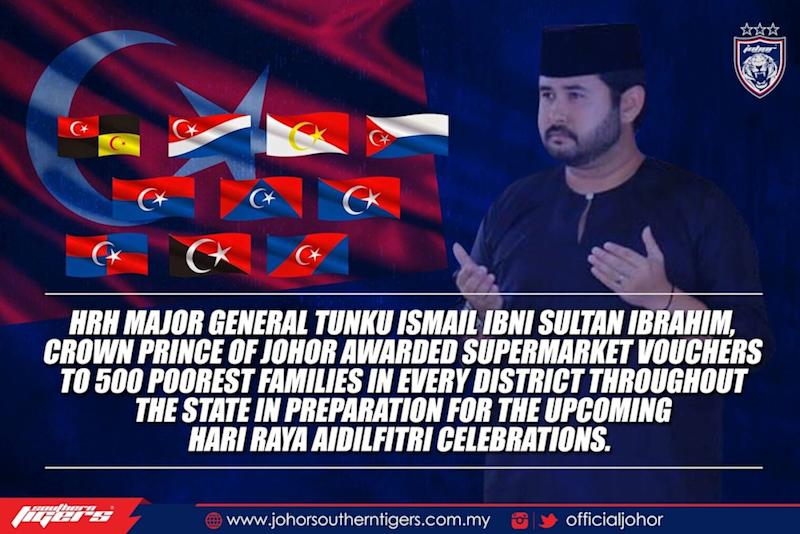 Johor crown prince, Tunku Ismail Sultan Ibrahim will give out supermarket vouchers to the poor in preparation for the coming Hari Raya Aidilfitri celebrations. — Picture courtesy of Johor Southern Tigers Facebook page