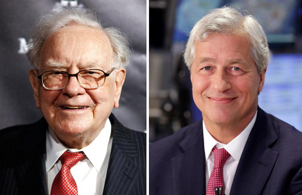 Berkshire Hathaway Chairman and CEO Warren Buffett and JP Morgan Chase Chairman and CEO Jamie Dimon. (AP Photos)