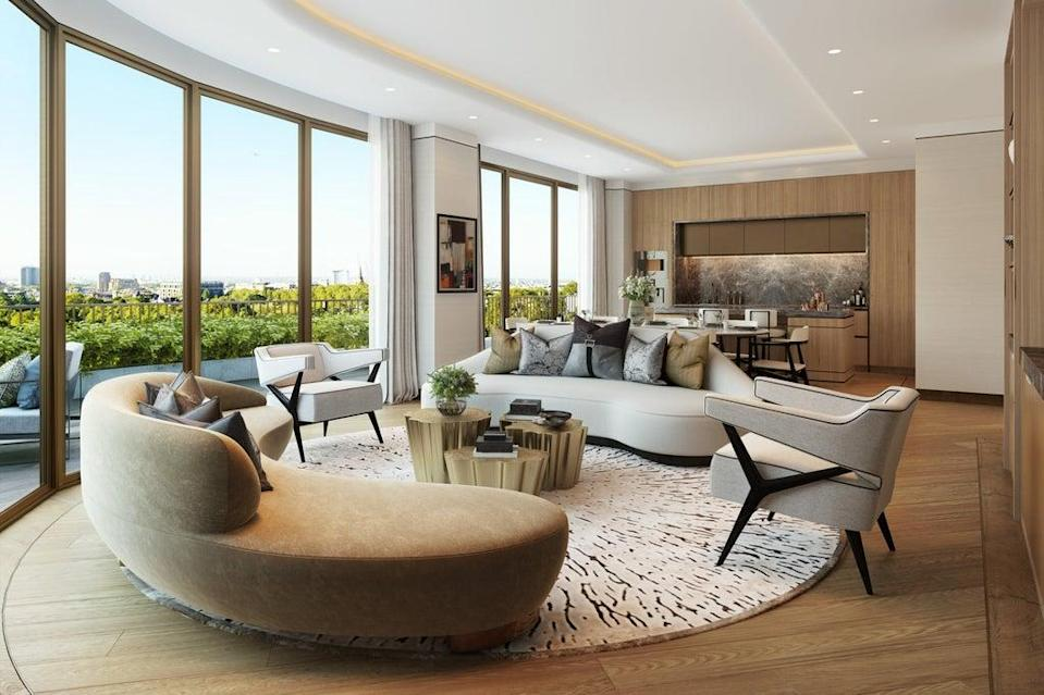 The living room at  Park Modern which overlooks Hyde Park  (Fenton Whelan)