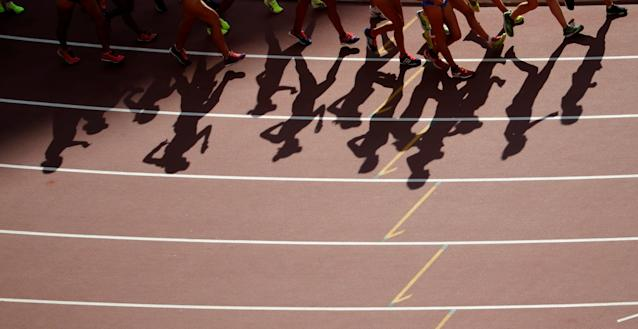 FILE PHOTO: Athletes compete in the women's 20 km race walk final during the 15th IAAF World Championships at the National Stadium in Beijing