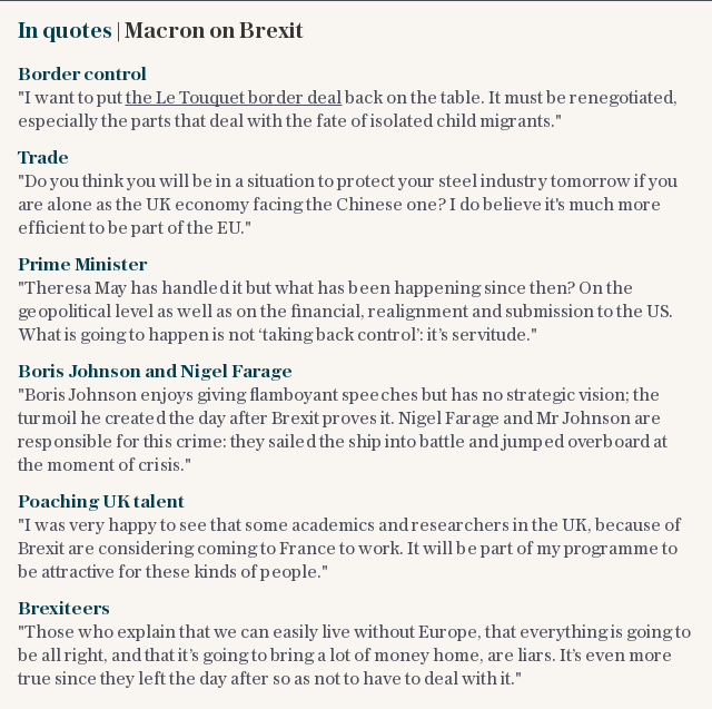 In quotes | Macron on Brexit