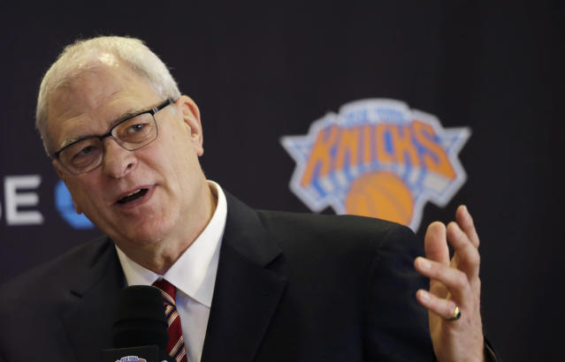 Phil Jackson, the new president of the New York Knicks, answers questions during a news conference, Tuesday, March 18, 2014 in New York. Jackson, who won two NBA titles as a player with the Knicks, also won 11 championships while coaching the Chicago Bulls and the Los Angeles Lakers. (AP Photo/Mark Lennihan)