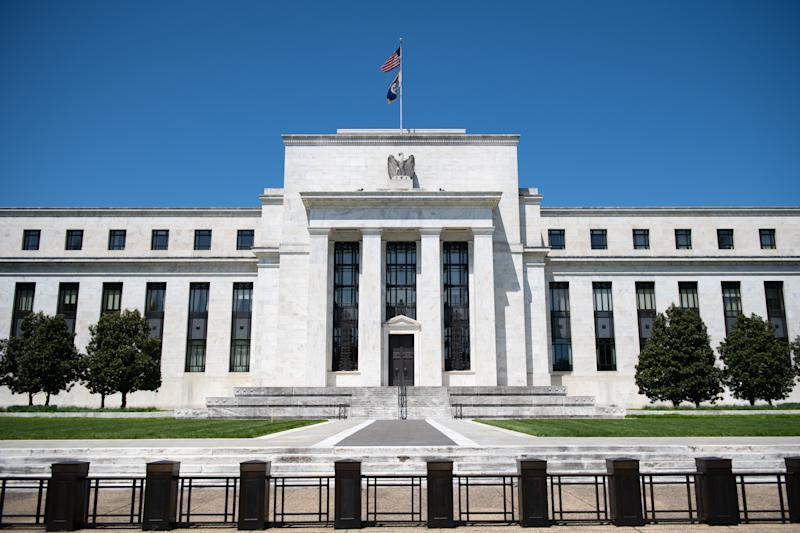 A general view of the Federal Reserve building in Washington, D.C., on May 2, 2020 amid the Coronavirus pandemic. Earlier today, thousands of visitors flocked to the Mall and other scenic sites around the Capital area to see a flyover by Navy Blue Angels and Air Force Thunderbirds in honor of medical personnel and first responders, meanwhile the global confirmed COVID-19 death toll approached 250,000.(Graeme Sloan/Sipa USA)