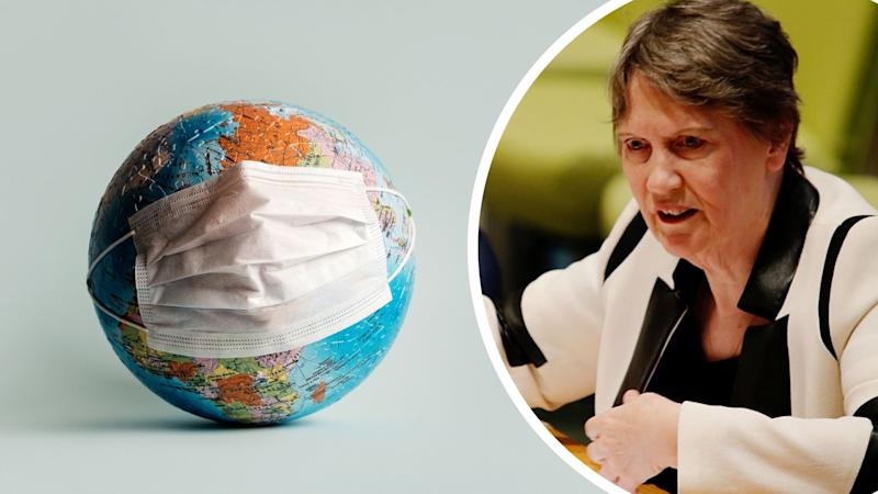 Pictured: Co-chair of the World health organisation's Independent panel of pandemic preparedness Helen Clark, image of the globe with face mask on it. Images: Getty