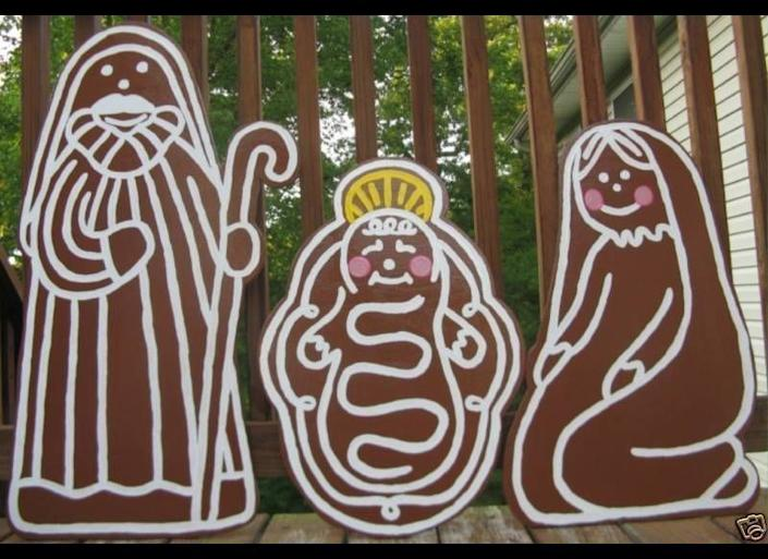 Celebrate two important holiday signifier, the nativity and gingerbread men, by combining them into <a href=&quot;http://www.ebay.com/itm/like/380544518329?lpid=82&quot; target=&quot;_blank&quot;>big lawn ornaments.</a>