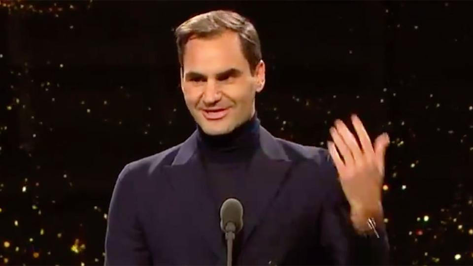 Roger Federer is seen here speaking at an awards night in Switzerland.