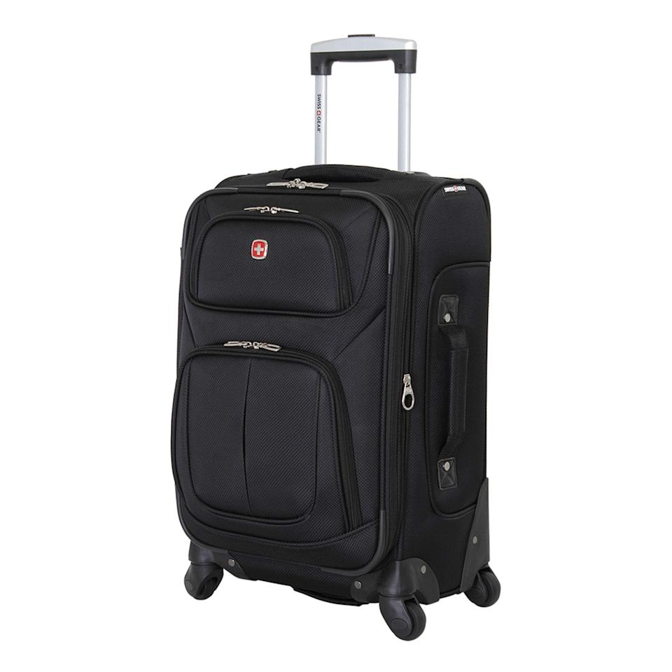 """<h2>Best Softside Rolling Luggage<br></h2><br><h3>SwissGear Sion Softside Luggage with Spinner Wheels<br></h3><br>For just a little less than $100, you can score SwissGear's flexible, thoughtfully designed softside luggage. It's fully equipped with four 360-degree spinner wheels to help you fly through the busiest of airports while your belongings are safely tucked away in its multiple storage pockets.<br><br><strong>The Hype</strong>: 4.6 out of 5 stars and 161 ratings<br><br><strong>Out Of Towners say</strong>: """"I have purchased three of these over the past 4 years...They are easy to roll around, no matter what direction. They fit the overhead bin perfectly. If you need extra room there is a zipper that opens the suitcase up another 2"""" or so, but that makes the bag too big for the overhead bin. I'd recommend these.""""<br><br><em>Shop <strong><a href=""""https://amzn.to/2Y2DBtM"""" rel=""""nofollow noopener"""" target=""""_blank"""" data-ylk=""""slk:SwissGear"""" class=""""link rapid-noclick-resp"""">SwissGear</a></strong></em><br><br><strong>SwissGear</strong> Sion Softside Luggage with Spinner Wheels (18-inch), $, available at <a href=""""https://amzn.to/3ij5p4o"""" rel=""""nofollow noopener"""" target=""""_blank"""" data-ylk=""""slk:Amazon"""" class=""""link rapid-noclick-resp"""">Amazon</a>"""