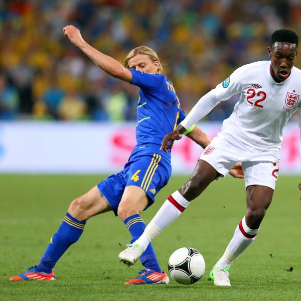 DONETSK, UKRAINE - JUNE 19: Anatoliy Tymoshchuk of Ukraine and Danny Welbeck of England compete for the ball during the UEFA EURO 2012 group D match between England and Ukraine at Donbass Arena on June 19, 2012 in Donetsk, Ukraine. (Photo by Alex Livesey/Getty Images)