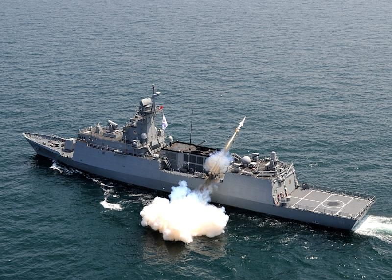 A South Korean navy vessel firing an anti-ship missile during a naval drill off the east coast of South Korea on May 19, 2015