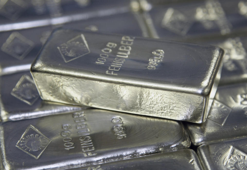 Silver bars are displayed in the Austrian Gold and Silver Separating Plant Oegussa in Vienna (Reuters)