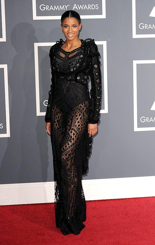 "Ciara  Grade: F   The R&B star caused a commotion in a catastrophic bolero and lace jumpsuit from Givenchy's latest line. Steve Granitz/<a href=""http://www.wireimage.com"" target=""new"">WireImage.com</a> - January 31, 2010"