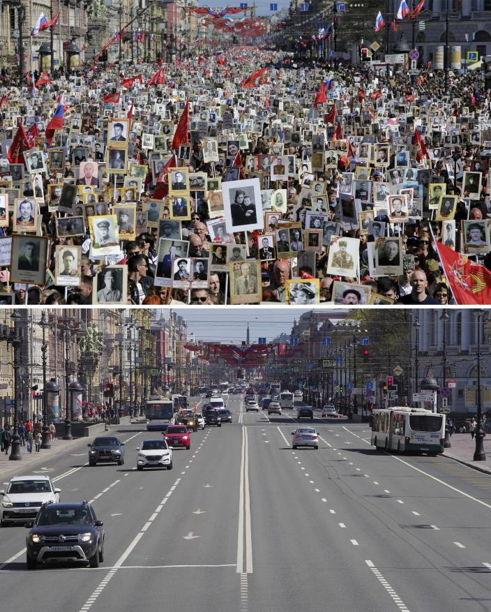 In this two photo combination picture, top photo shows local residents carry portraits of their ancestors, participants in World War II, at the Nevsky avenue as they celebrate the 73rd anniversary of the defeat of the Nazis in World War II in St. Petersburg, Russia, Wednesday, May 9, 2018, and bottom photo shows Nevsky avenue in the day of the 75th anniversary of the defeat of the Nazis in World War II in St. Petersburg, Russia on Saturday, May 9, 2020. Victory Day is Russia's most important secular holiday and this year's observance had been expected to be especially large because it is the 75th anniversary, but the Red Square military parade and a mass procession called The Immortal Regiment were postponed as part of measures to stifle the spread of the virus. (AP Photo/Dmitri Lovetsky)