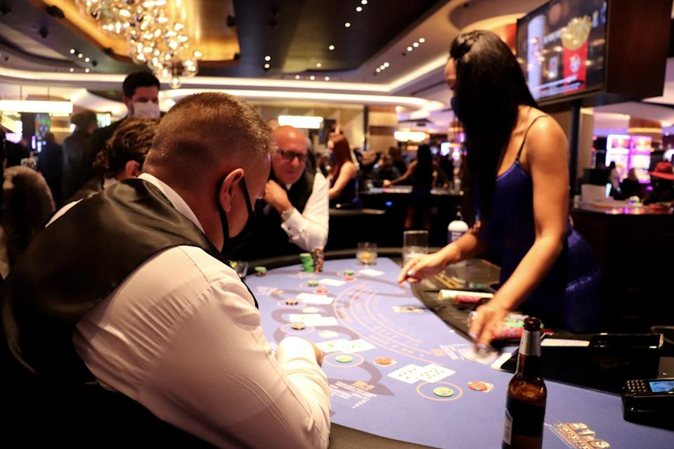 The card tables inside Circa Resort & Casino filled up quickly on Wednesday, Oct. 27, 2020.
