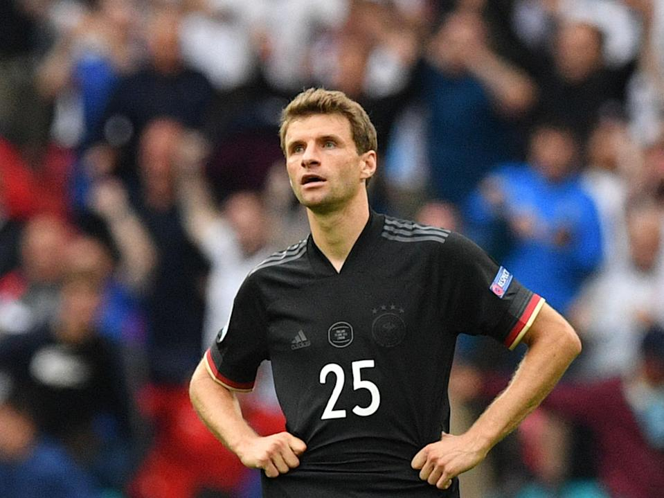 Germany's Thomas Muller reacts after defeat to England at Wembley (Getty)