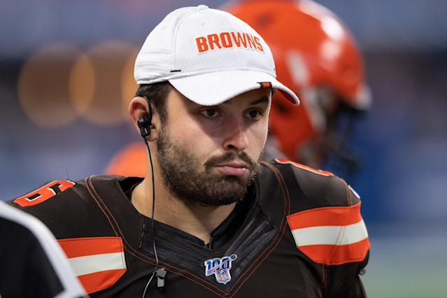 Cleveland Browns quarterback Baker Mayfield reached out to New York Giants quarterback Daniel Jones to clear the air after remarks made in a GQ feature. (Photo by Zach Bolinger/Icon Sportswire via Getty Images)