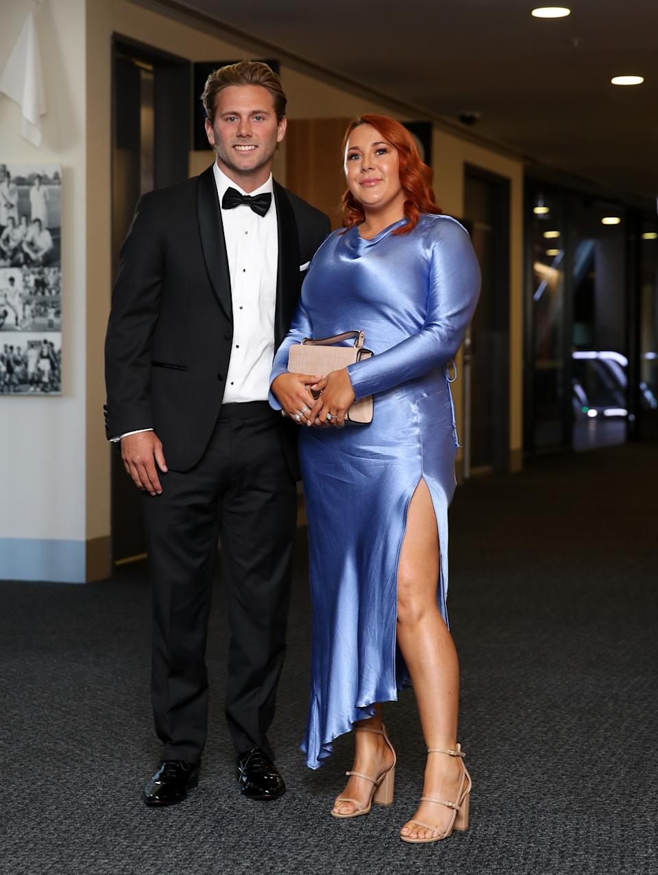 Caleb and Chloe Daniel during the 2020 Brownlow Medal Count at Adelaide Oval on October 18, 2020 in Adelaide, Australia.