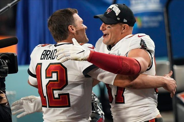 Tampa Bay Buccaneers quarterback Tom Brady and Tampa Bay Buccaneers tight end Rob Gronkowski celebrate
